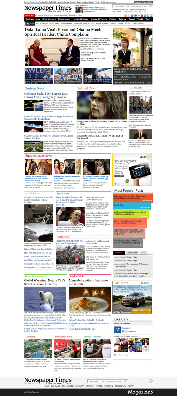 Newspaper Times WordPress Theme