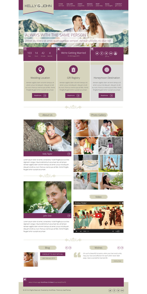 Soul WordPress Wedding Theme