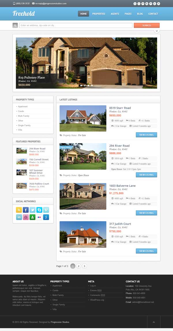 Freehold Theme for Real Estate Agents