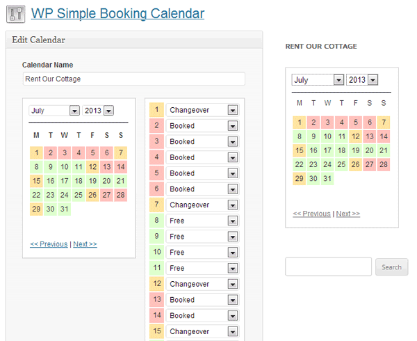 Simple Booking Calendar Plugin