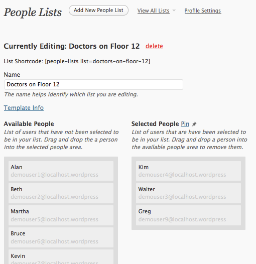People List Plugin for WordPress
