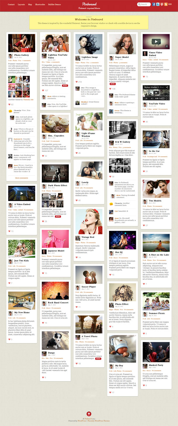 Pinboard Pinterest Theme Image