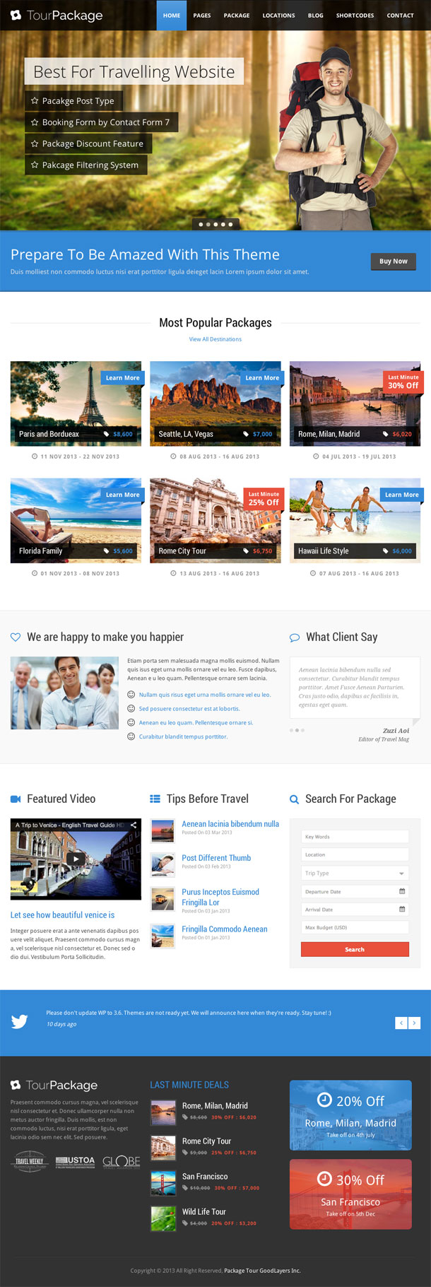 Tour Package Retina Theme Image