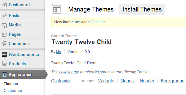 Child Theme Activated