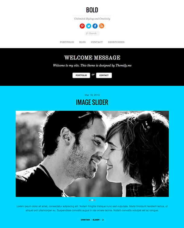 Bold Multimedia WordPress Theme with Slider Image
