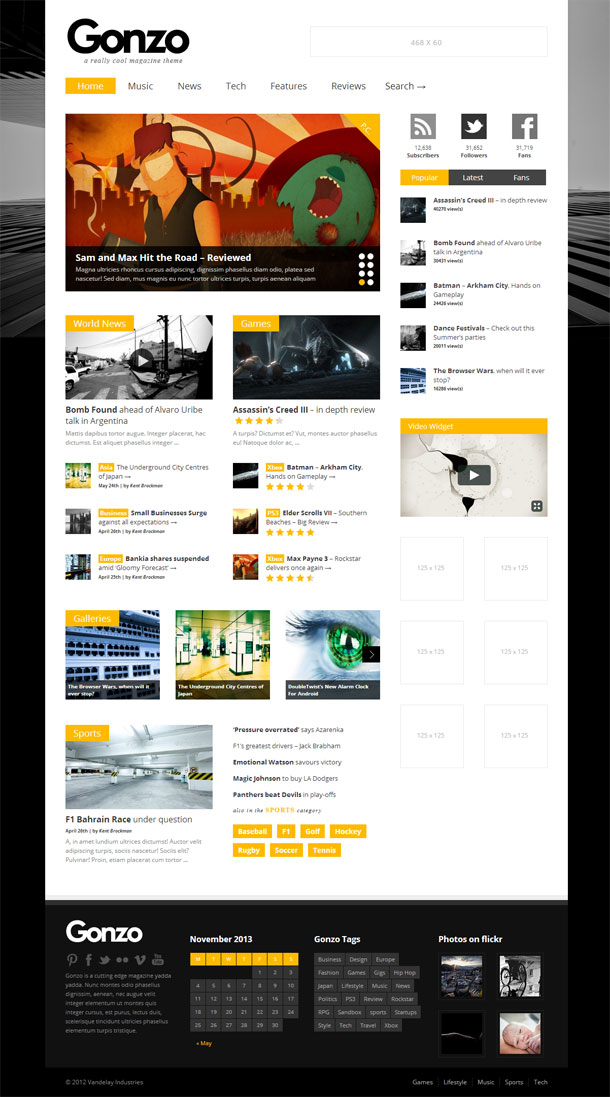 Gonzo The Most Popular WP Themes Theme Image