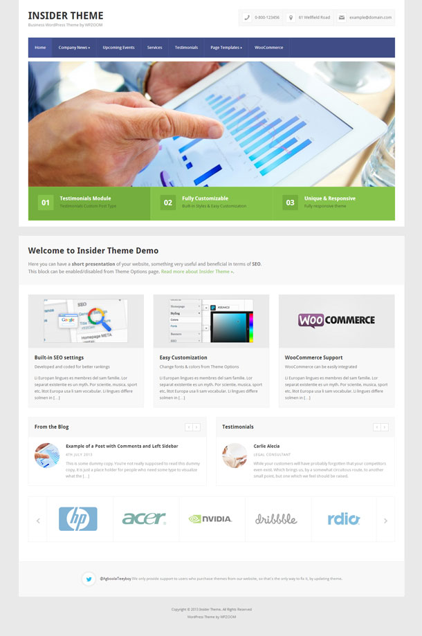 Insider Multimedia WordPress Theme with Slider Image