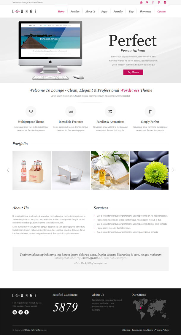 Lounge Multimedia WordPress Theme with Slider Image