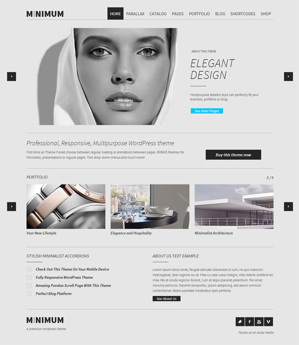 Minimum Multimedia WordPress Theme with Slider Image