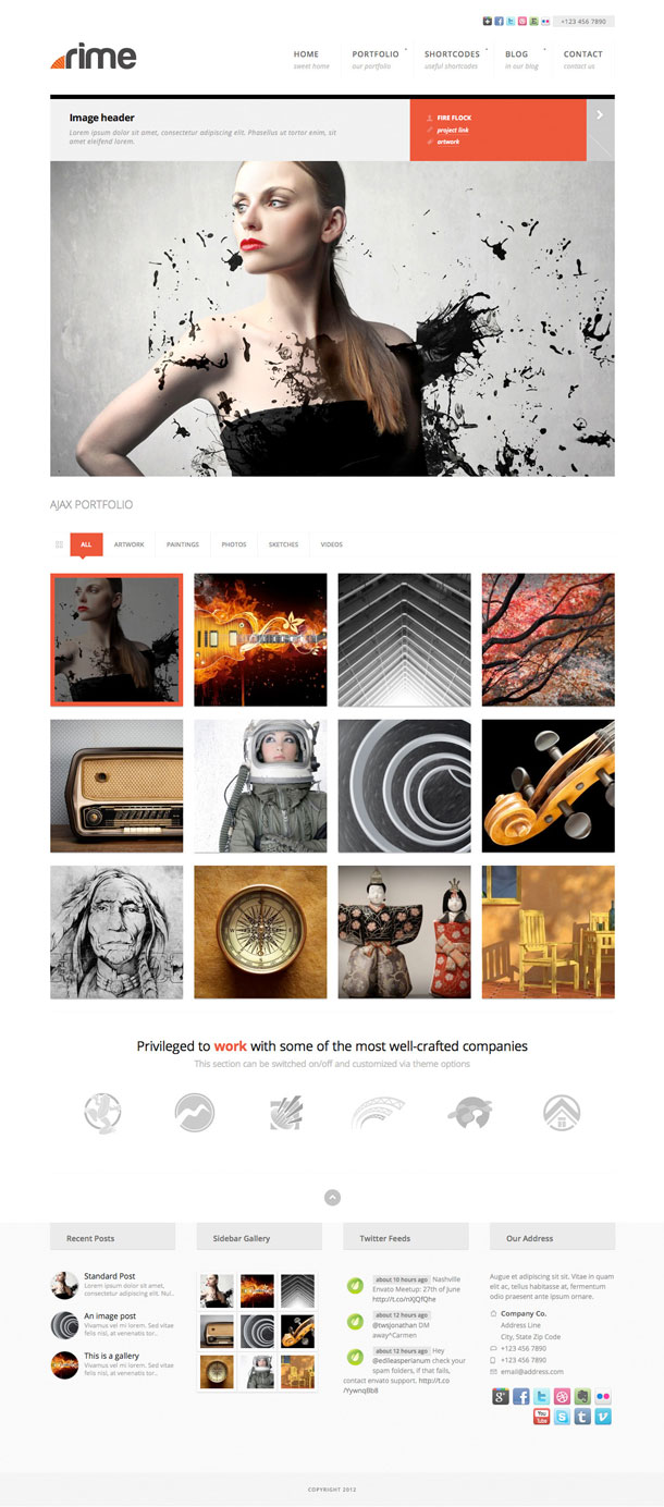 Rime Awesome Multimedia WordPress Theme with Slider Image
