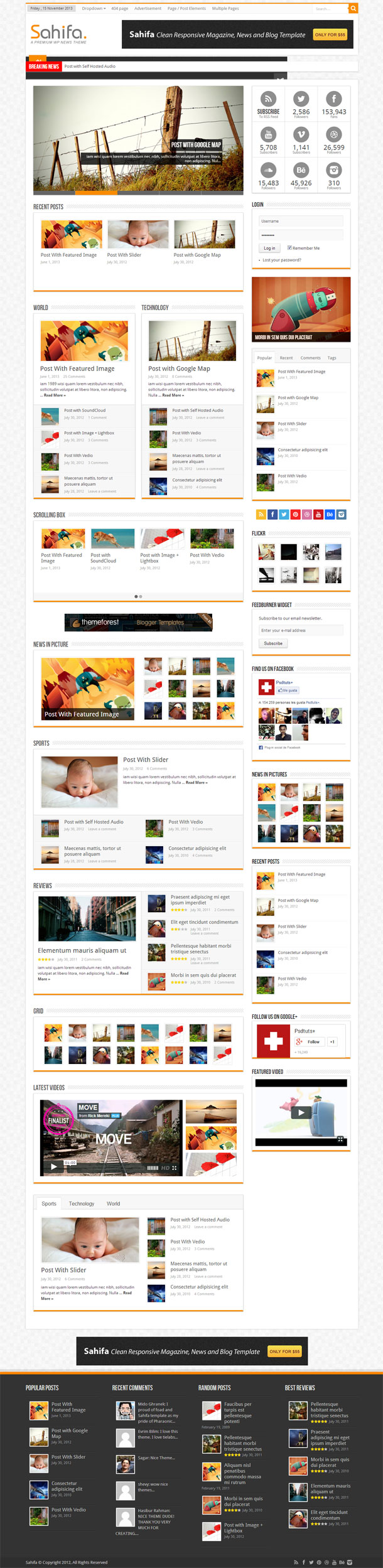 Sahifa The Most Popular WP Themes Theme Image