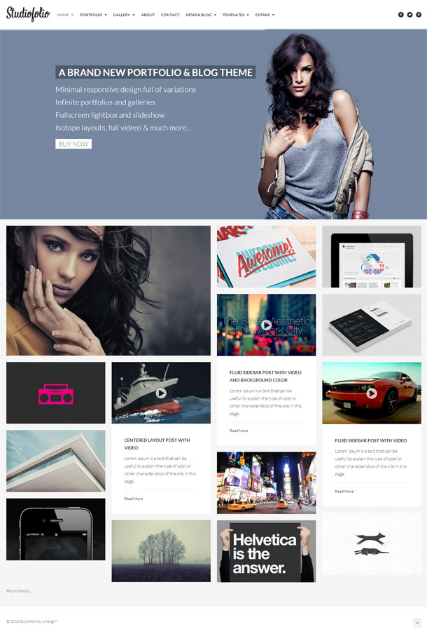 Studiofolio Multimedia WordPress Theme with Slider Image