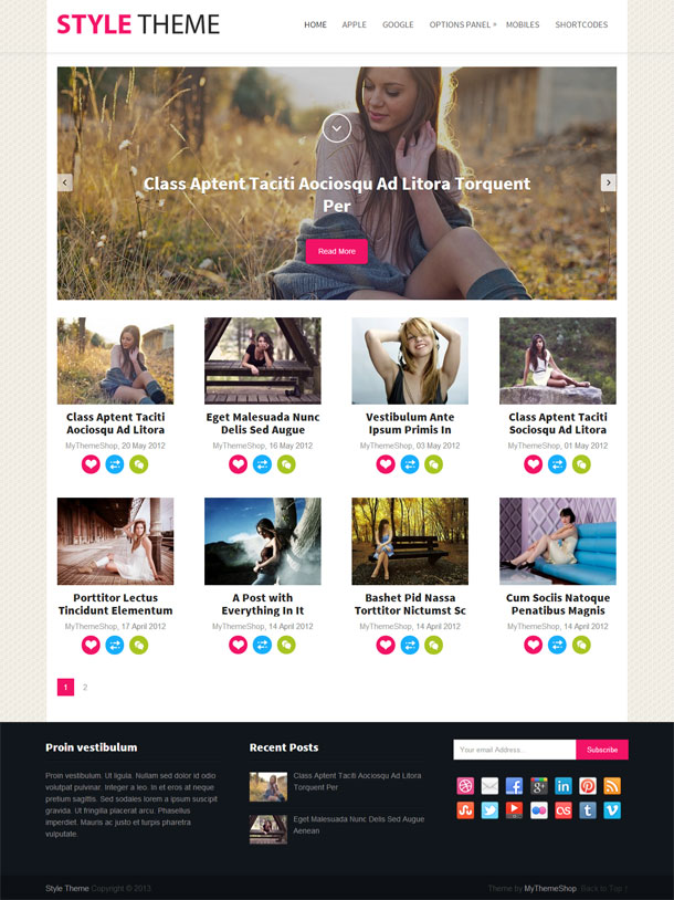 Style Multimedia WordPress Theme with Slider Image