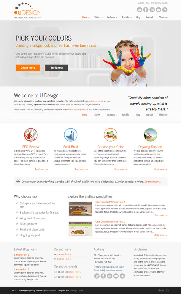 U-Design The Most Popular WP Themes Theme Image