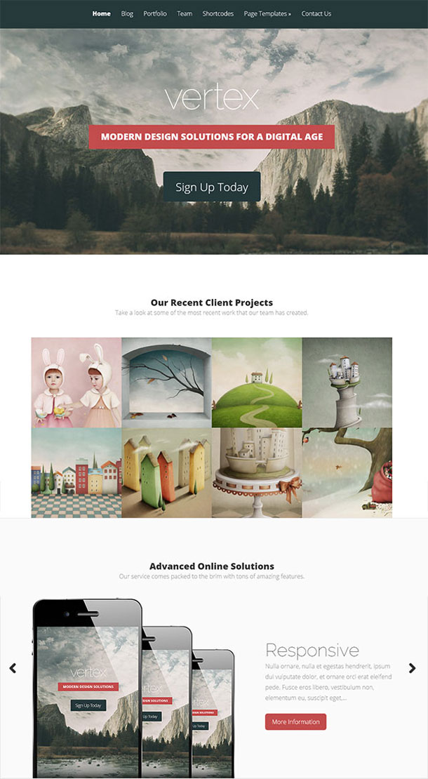 Vertex Multimedia WordPress Theme with Slider Image