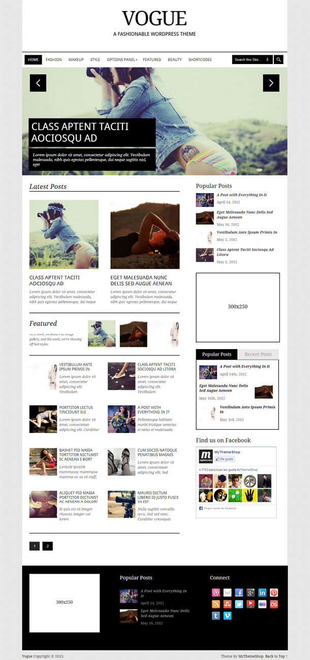 Vogue Multimedia WordPress Theme with Slider Image