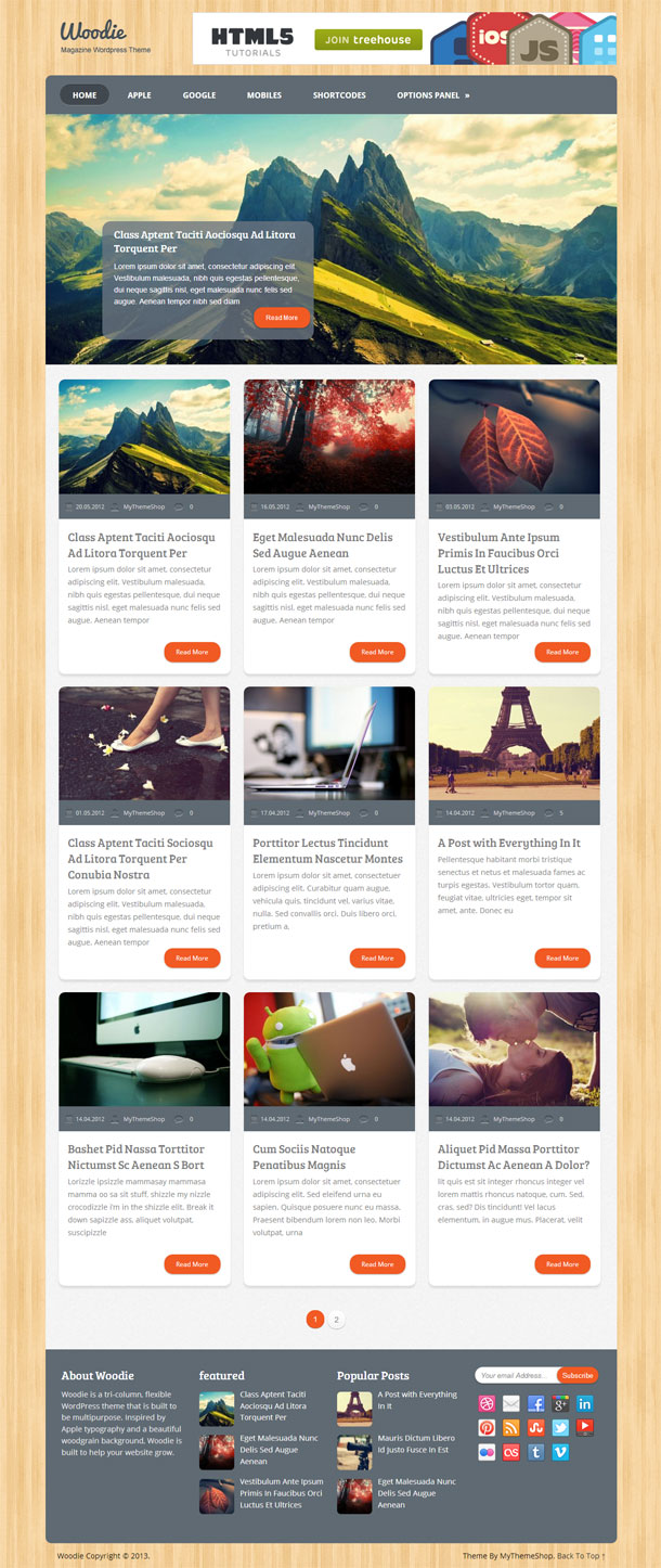 Woodie Multimedia WordPress Theme with Slider Image