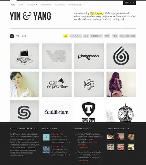 Yin & Yang The Most Popular WP Themes Theme Image