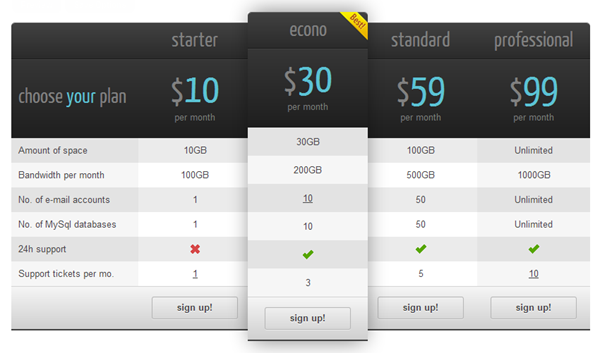Price Comparsion Plugins CSS3 01