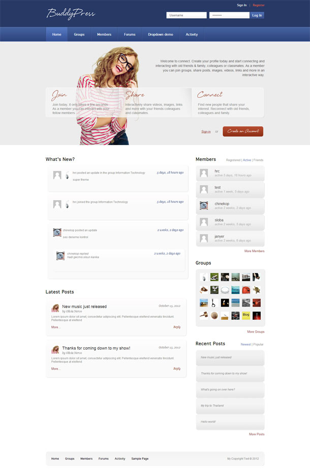 Connect Best BuddyPress theme image 2014