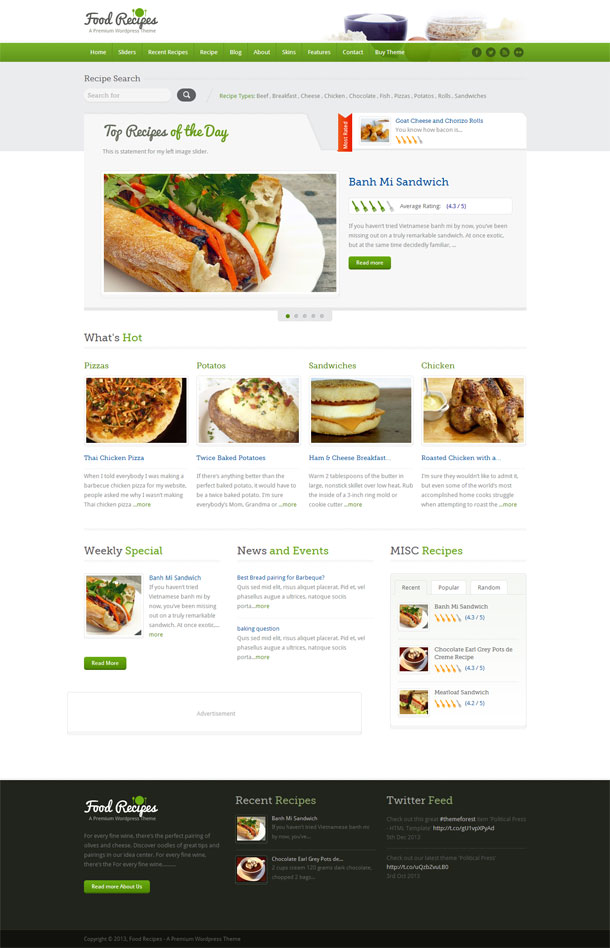 Food Recipes Green Theme Image