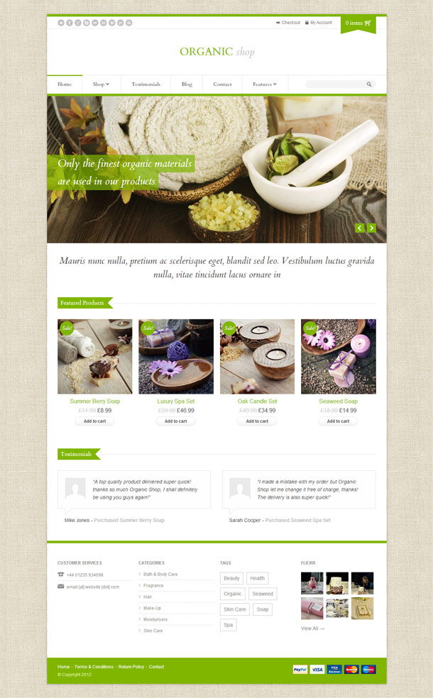 Organic Shop Green Theme Image