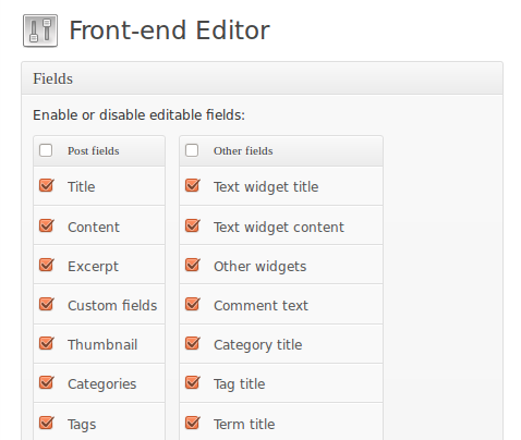 Post Editor Plugins Front End Editor Settings
