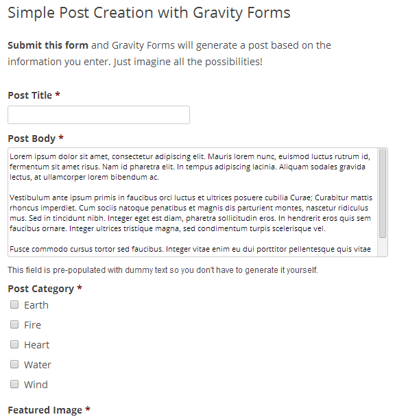 Frontend Posting Gravity Forms