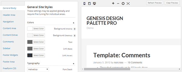 Genesis Design Palette Pro Preview