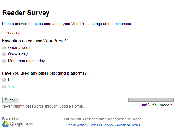 Google Survey Create Form Preview