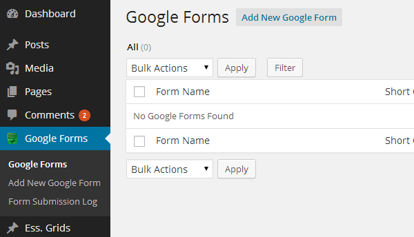 Google Surveys Plugin New Form Button