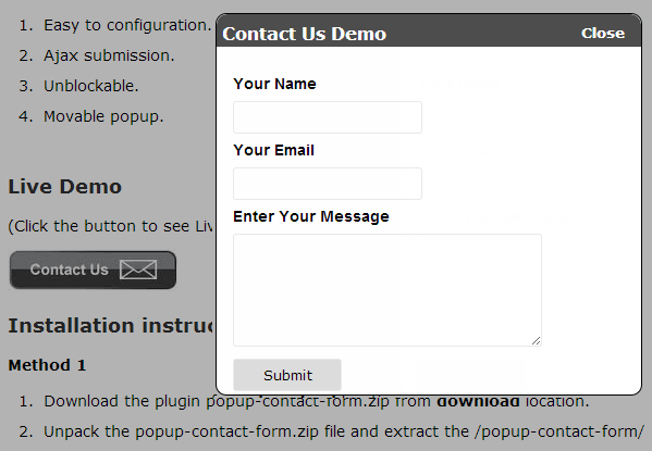 Popup Contact Form