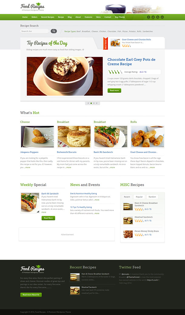 Food Recipes Theme Image