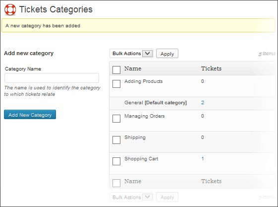 Support System Ticket Categories