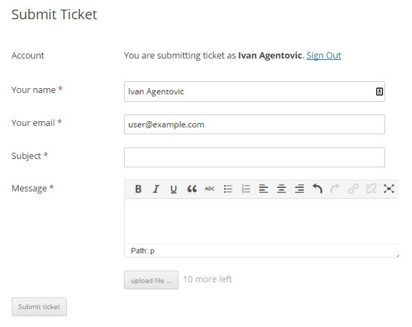 WP Help Desk Submit a Ticket