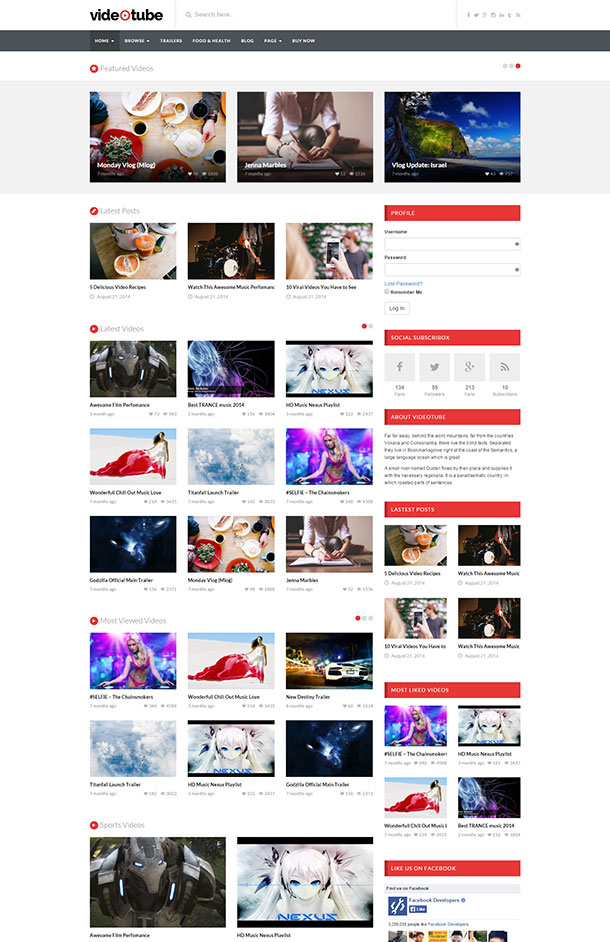 VideoTube Theme Screenshot