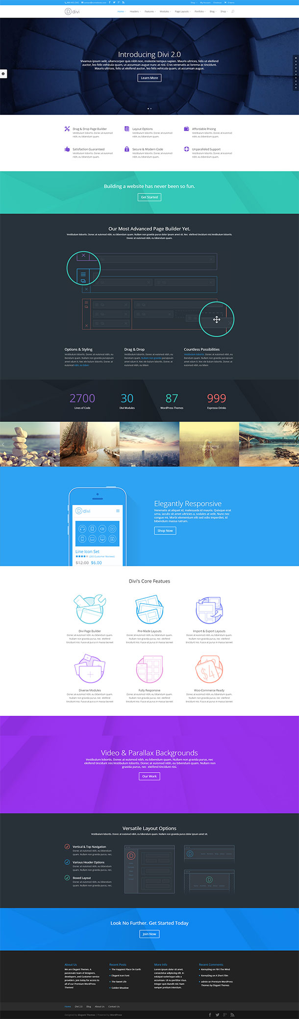 Divi Single Page Theme