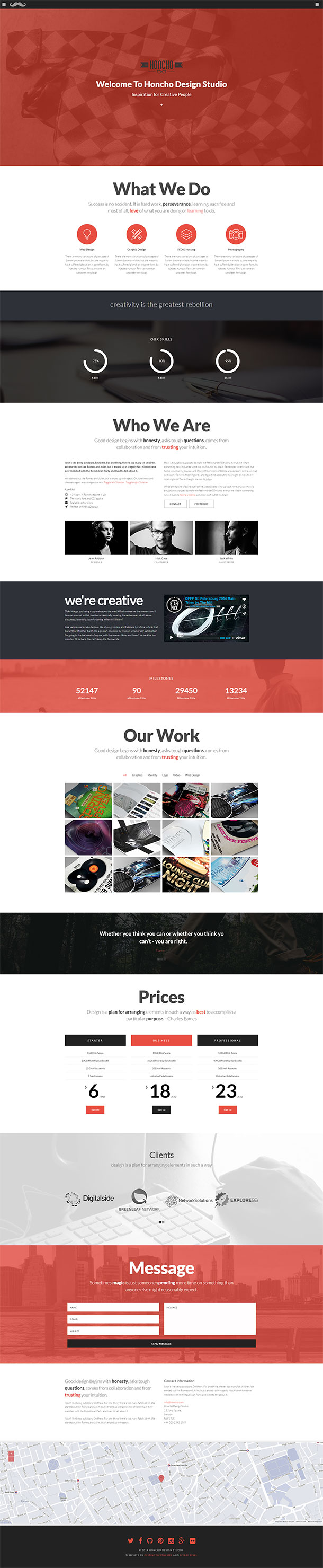 Honcho One Page WordPress Theme