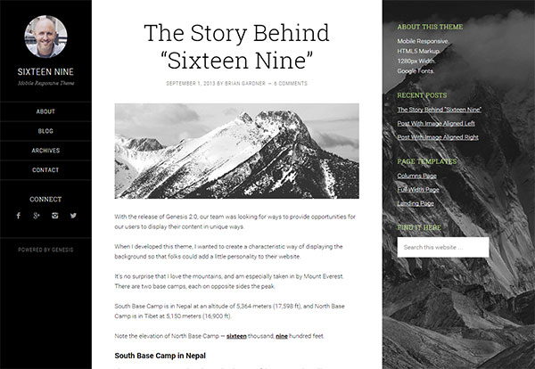Sixteen Nine Genesis Blogging Theme