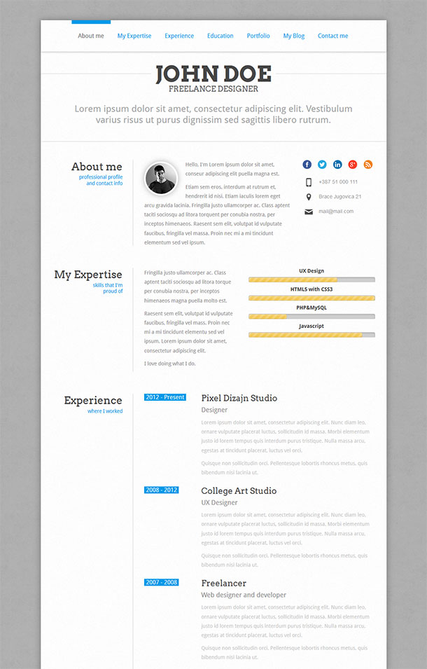Perfect CV Resume WordPress Theme
