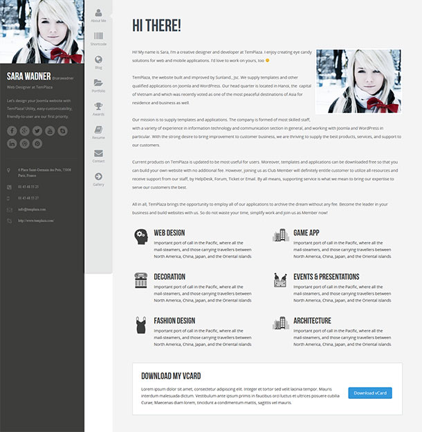 Profiler vCard WordPress Theme